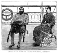 0353520 © Granger - Historical Picture ArchiveSERU EPINISA CAKOBAU   (1815-1883). Fijian chief and warlord, on board the Wairarapa at Levuka, Fiji. Wood engraving, English, 1885.