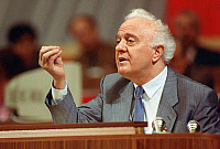 0352386 © Granger - Historical Picture ArchiveDISSOLUTION OF USSR, 1990.    Soviet Minister of Foreign Affairs Eduard Shevardnadze at a session of Congress at the Kremlin, Moscow, in 1990. Full credit: ITAR-TASS Photo Agency / Granger, NYC -- All rights reserved.