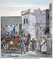 0007670 © Granger - Historical Picture ArchiveSURRENDER OF GRANADA.   In 1492 to King Ferdinand and Queen Isabella of Castile. Engraving, 19th century.