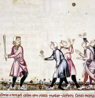 0104229 © Granger - Historical Picture ArchiveSPAIN: MEDIEVAL BALLGAME.   Batter, pitcher, and fielders in a Spanish game similar to modern baseball. Manuscript illumination, 13th century, from the 'Cantigas de Alfonso X.'
