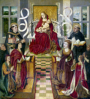 0104258 © Granger - Historical Picture ArchiveSPAIN: KING & QUEEN, 1490.   The Madonna of the Catholic Kings. At left, King Ferdinand of Spain kneels in front of the Virgin Mary with Saint Thomas Aquinas holding the church. Beside the king is the Infante Don Juan. Queen Isabella kneels at right with Saint Dominic, holding a lily and an open book. Oil on panel by an unknown artist, Spanish, c1490.