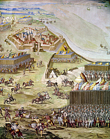 0104486 © Granger - Historical Picture ArchiveSAINT-QUENTIN, 1557.   Hapsburg forces under Emmanuele Filiberto attack French forces at the Battle of Saint-Quentin, France, 10 August 1557; soldiers use swords, lances, and arquebuses. Fresco, Spanish, c1571.