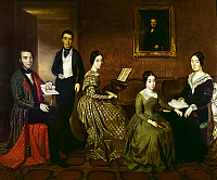 0104815 © Granger - Historical Picture ArchiveSPAIN: FAMILY, 1840.   The Flaquer Family. Oil on canvas, 1840, by Joaquin Espalter.