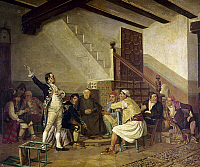 0104818 © Granger - Historical Picture ArchiveSPAIN: POLITICAL SPEECH.   Politician delivering a speech at an inn. Oil on canvas, late 19th century, by Bernardo Ferrandis.