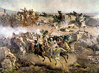 0104824 © Granger - Historical Picture ArchiveMOROCCO: TETOUAN, 1860.   Battle between invading Spanish forces and Moroccan forces at Tetouan, Morocco, early 1860. Oil on canvas, 1863, by Mariano Fortuny.