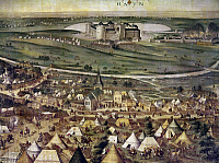 0104929 © Granger - Historical Picture ArchiveSAINT-QUENTIN, 1557.   Hapsburg forces under Emmanuele Filiberto attack French forces at the Battle of Saint-Quentin, France, 10 August 1557. Oil on canvas, Spanish, 16th century.