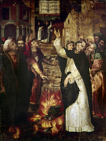 0105146 © Granger - Historical Picture ArchiveCATHOLICISM: CENSORSHIP.   Dominican friar overseeing the burning of heretical works, under the Latin banner, 'One God, One Faith, One Baptism.' Oil on wood, Spanish, probably 15th century.