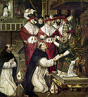 0105177 © Granger - Historical Picture ArchiveSAINT DOMINIC (1170-1221).  Spanish Roman Catholic priest. Dominic before Pope Honorius III in 1216, receiving confirmation for the establishment of the Dominican order. Oil on wood, Spanish, probably 15th century.