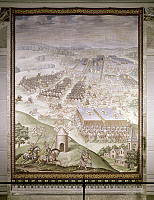 0132762 © Granger - Historical Picture ArchiveBATTLE OF SAINT-QUENTIN, 1557.   The Battle at Saint Quentin, France, 1557, between Spain and France during the Franco-Habsburg War. Fresco in the Hall of Battles at the Escorial Palace, c1571.