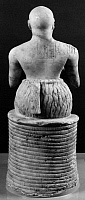 0126961 © Granger - Historical Picture ArchiveSUMERIAN STATUETTE.   Seated figure of Ebih II, the Sumerian superintendant of Mari in present-day Syria. Votive figure of gypsum, lapis lazuli, and shell, from the Temple of Ishtar, c2400 B.C.