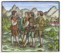 0057537 © Granger - Historical Picture ArchiveSWISS CONFEDERATION, 1291.   The foundation of the Swiss Confederation, the swearing of the oath in the meadow of Rutli, 1 August 1291. Woodcut from Jakob Ruff's version of the Canton of Uri folk play, 'Von dem frommen und ersten Eydgenossen Wilhem Thellen,' acted by the townspeople of Zurich on New Years Day, 1545.