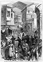 0095546 © Granger - Historical Picture ArchiveSERBO-TURKISH WAR, 1876.   Execution of Bulgarians in the streets of Plovdiv during the Serbo-Turkish War, 1876. Contemporary English line engraving.
