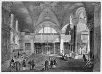 0127486 © Granger - Historical Picture ArchiveTURKEY: HAGIA SOPHIA, 1852.   The new Imperial Tribune (Sultan's Box), rear right. Lithograph by Louis Haghe after a drawing by Gaspard Fossati, the Swiss architect who renovated Hagia Sophia in Istanbul.