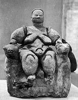 0167644 © Granger - Historical Picture ArchiveTURKEY: GODDESS FIGURE.   Terracotta seated figure of a mother goddess giving birth, flanked by leopards, from the Neolithic ruins at Catal Huyuk in southern Turkey, 7th millennium B.C.