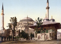 0353099 © Granger - Historical Picture ArchiveHAGIA SOFIA, c1895.   The Hagia Sofia and Fountain of Ahmed III in Constantinople, Ottoman Empire. Photochrome, c1895.