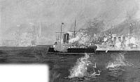 0066009 © Granger - Historical Picture ArchiveVENEZUELA BLOCKADE 1902-03.   H.M.S Charybdis and the German cruiser Vineta bombarding Fort Libertador at Puerto Cabello, Venezuela, during the Anglo-German-Italian blockade of December 1902 - February 1903: illustration from a contemporary English newspaper.