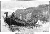 0006563 © Granger - Historical Picture ArchiveNORSE SHIPS, c1000 A.D.   Norsemen off the coast of North America. Wood engraving, American, late 19th century.