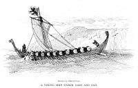 0015821 © Granger - Historical Picture ArchiveVIKING SHIP, c1000 A.D.   A Viking ship under oars and sail. Drawing by Harry Fenn, c1905.
