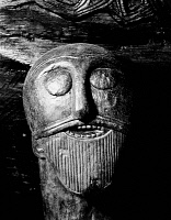 0052649 © Granger - Historical Picture ArchiveVIKINGS: CARVED HEAD.   Carved head, perhaps a portrait of an old chieftan, on a ninth-century wooden cart found at Oseberg, Norway.