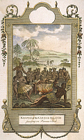 0053839 © Granger - Historical Picture ArchiveCANNIBALISM.   'Natives of the Caribee Islands feasting on Human Flesh.' Color line engraving, English, late 18th century.