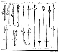 0075235 © Granger - Historical Picture ArchiveFRENCH CHIVALRIC WEAPONS.   Including epees (figures 4,5,6) and foils (figures 9,10). Line engraving, French, 18th century.