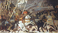 0019876 © Granger - Historical Picture ArchiveSAN ROMANO BATTLE.   The Battle of San Romano. First panel, tempera on wood by Paolo Uccello, c1440. RESTRICTED OUTSIDE US.
