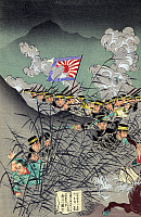 0113507 © Granger - Historical Picture ArchiveSINO JAPANESE WAR, 1895.   Japanese soldiers, using bamboo as a screen, while attacking Chinese troops who appear to be caught off guard. Japanese woodcut, 1895.
