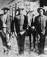 0033739 © Granger - Historical Picture ArchiveSEMINOLES: BLACK SCOUTS.   Three Seminole Negro Indian scouts for the U.S. Army, who served as trackers during the Native American wars of the late-19th century.