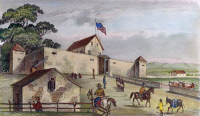 0008207 © Granger - Historical Picture ArchiveSUTTER'S FORT, 1849.   Agricultural and trading colony built near the junction of the American and Sacramento Rivers, California. Lithograph, 1849.