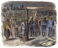 0038778 © Granger - Historical Picture ArchiveKANSAS: TRADING POST, 1867.   'Sutler's store at Fort Dodge, Kansas.' American engraving, 1867.