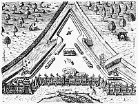0052696 © Granger - Historical Picture ArchiveFORT CAROLINE, 1564.   Plan of Fort Caroline on the St. John's River, built by the second French expedition to Florida in 1564. Line engraving, 1591, by Theodor de Bry after a now lost drawing by Jacques Le Moyne de Morgues.