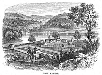 0077572 © Granger - Historical Picture ArchiveFORT HARMAR, OHIO, 1790.   Fort Harmar, at the mouth of the Muskingum River, in 1790. Wood engraving, 19th century.