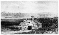 0125715 © Granger - Historical Picture ArchiveFORT PITT.   The powder magazine at Fort Pitt, built by the British, 1758, on the site of Fort Dusquesne. Wood engraving from 'The Book of the Colonies' by John Frost, 1846.