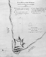 0128519 © Granger - Historical Picture ArchiveFORT DUQUESNE: MAP.   English plan, 1750s, of Fort Dusquesne, on the site of present day Pittsburgh, Pennsylvania.