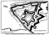 0131478 © Granger - Historical Picture ArchiveFORT PITT.   Plan of Fort Duquesne, built by the French from 1759 to 1761, and Fort Pitt, built a few years later by American colonists, on what is today Pittsburgh, Pennsylvania.  Line engraving, early 20th century.