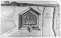 0176350 © Granger - Historical Picture ArchiveNEW ORLEANS: FORT, 1814.   Cross section (top) and plan of Fort St. Charles on the Mississippi River in New Orleans, Louisiana. Drawing by Barthélemy Lafon, 1814.