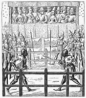 0006628 © Granger - Historical Picture ArchiveKNIGHTS: TRIAL BY COMBAT.   Engraving after a miniature in the 15th-century French manuscript of 'Ceremonies des gages de bataille.'