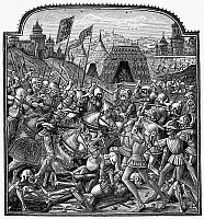 0016987 © Granger - Historical Picture ArchiveFRANCE: BATTLE, c1400.   Battle scene with knights and infantry. Wood engraving after a miniature illumination from 'Chronicles' by Jean Froissart (c1322-c1410).