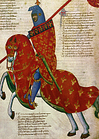 0023995 © Granger - Historical Picture ArchiveKNIGHT, 14th CENTURY.   An armed knight of Prato. Manuscript illustration, Italian, 14th century.