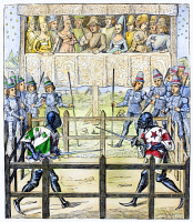 0088746 © Granger - Historical Picture ArchiveKNIGHTS: TRIAL BY COMBAT.   Engraving after a miniature in the 15th-century French manuscript of 'Ceremonies des gages de bataille.'