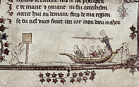 0116859 © Granger - Historical Picture ArchiveTILTING, 14th CENTURY.   A man tilting at a target from a rowboat. Detail of an illumination by Jehan de Grise in the 'Romance of Alexander,' c1340.