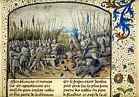 0023939 © Granger - Historical Picture ArchiveMEDIEVAL BATTLE, 1071.   Robert the Frisian's infantry fighting Anglo-Normans at Battle of Cassel, 1071. Flemish manuscript illumination, 1477.