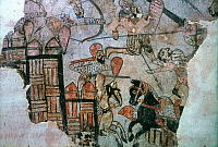 0040296 © Granger - Historical Picture ArchiveCRUSADES: FATIMIDS.   Fatimids making a sortie from a fortified town, besieged by crusaders. Mural, Egypt, 12th century.