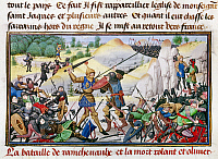 0127480 © Granger - Historical Picture ArchiveSONG OF ROLAND, 778 A.D.   The death of Roland (in gold armor), the nephew of Charlemagne and the most celebrated of the emperor's twelve paladins, at the Battle of Roncesvalles in the Pyrenees, 778 A.D., the basis of the epic 'Chanson de Roland.' Flemish manuscript illumination, 1462.