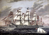 0102746 © Granger - Historical Picture ArchiveAMERICAN WARSHIPS.   'U.S. Ships of the Line 'Delaware' and 'North Carolina' and Frigates 'Brandywine' and 'Constellation.'' Oil on canvas by James Evans, mid 19th century.