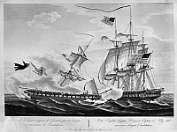 0176376 © Granger - Historical Picture ArchiveUSS CONSTITUTION, 1812.   'The English frigate Warrior captured by the American frigate Constitution.' Engraving by Jean Jerome Baugean, 19th century.