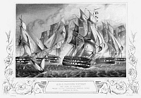 0322801 © Granger - Historical Picture ArchivePORTUGAL: BATTLE, 1833.   The fourth Battle of Cape St. Vincent, fought between a squadron led by British Officer Charles Napier for Portugal and the navy of usurper Miguel I, during Portugal's Liberal Wars, 5 July, 1833. Engraving, 19th century, after a painting by G.W. Terry.