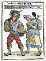 0066604 © Granger - Historical Picture ArchiveGERMAN MERCENARY, 1535.   A lansequenet (mercenary) and his companion. German woodcut, c1535, by Erhard Schoen used on a broadside printed, 1568, in Nuremberg.