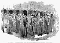 0079941 © Granger - Historical Picture ArchiveBRITAIN: FUSILIERS, 1854.   Inspection of the 1st Battalion of the Fusiliers, and the 3rd of Grenadier Guards, by Prince Albert. Wood engraving, English, 1854.