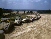 0111619 © Granger - Historical Picture ArchiveTANK MANEUVERS, 1942.   Parade of M-4 'Sherman' and M-3 'Grant' tanks during training maneuvers at Fort Knox, Kentucky. Photograph by Alfred T. Palmer, June 1942.